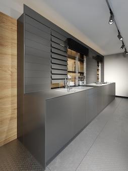 Interior de estudio de cocina de madera oscura con estilo en estilo loft. representación 3d