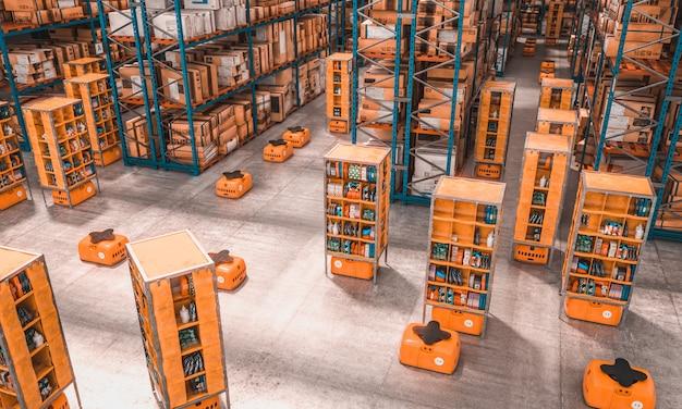 Interior de una fábrica con drones utilizados para transportar mercancías.