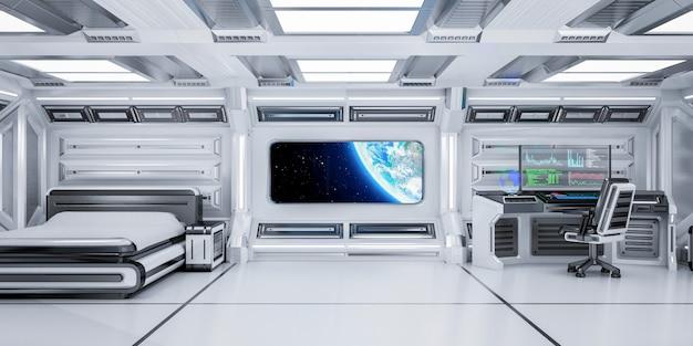 Interior futurista del dormitorio de ciencia ficción con vista del planeta tierra en la estación espacial, representación 3d