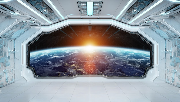 Interior futurista de nave espacial azul blanco con vista de ventana sobre el planeta tierra