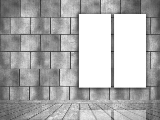 Interior de grunge con lienzos en blanco colgado en la pared