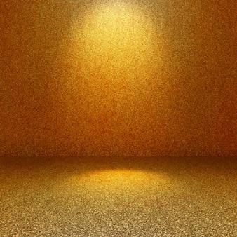 Interior de la habitación 3d brillo de oro