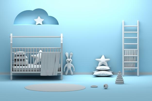 Interior de habitación azul recién nacido con un conejo