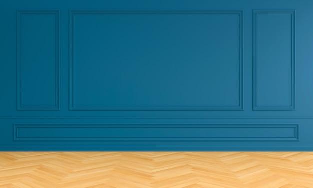 Interior de la habitación azul vacía con molduras para maqueta