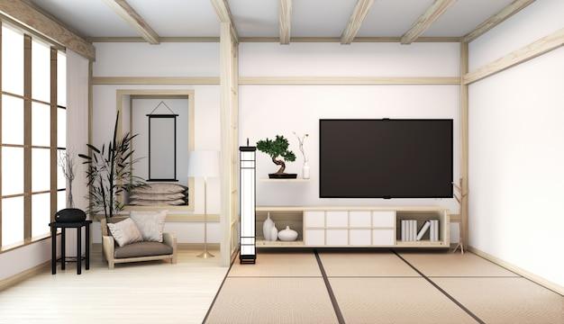 Interior de la habitación de estilo japonés con gabinete en el piso de la sala, estera de tatami, sala de madera, decoración mínima, plantas baboo. renderizado 3d