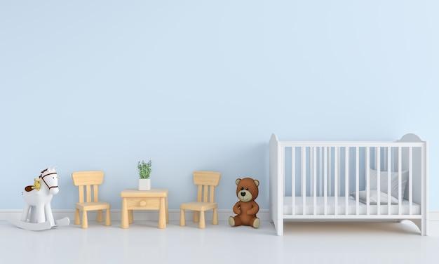 Interior de la habitación infantil azul para maqueta
