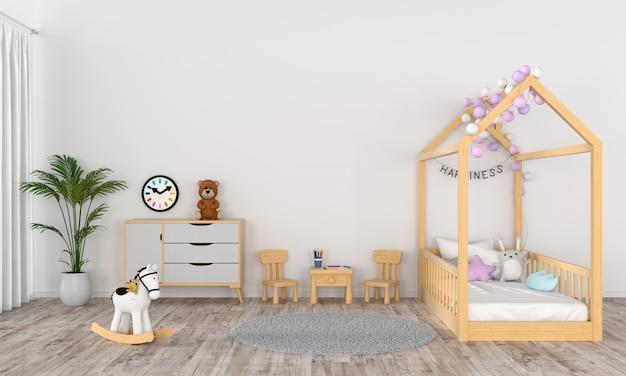 Interior de la habitación infantil blanca para maqueta.