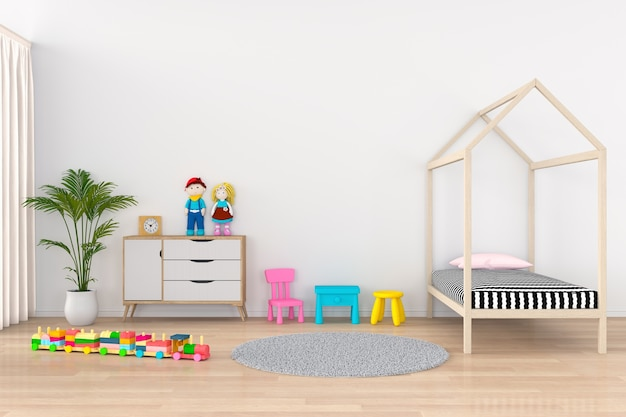 Interior de la habitación infantil blanca Foto Premium