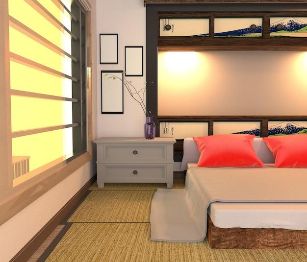 Interior de habitación japonesa, diseño de habitación de cama. representación 3d