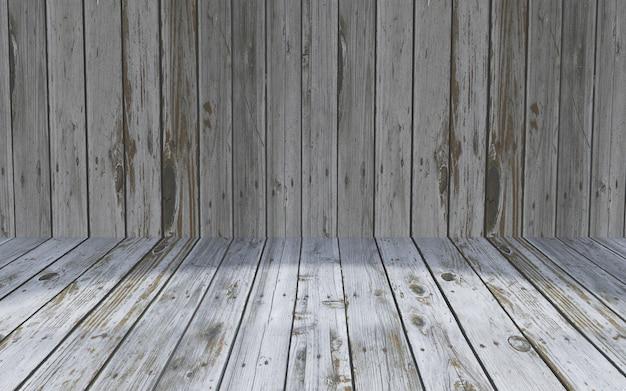 Interior de la habitación de madera 3d