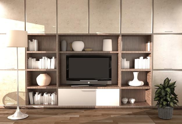 Interior de la habitación moderna - habitación vacía. representación 3d