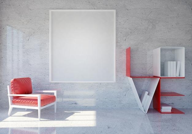 Interior de la habitación moderna y loft con la palabra estante de la pintura amor y el marco de la foto en blanco para valentin