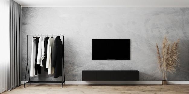 Interior de la habitación moderna con perchero, tv con gabinetes negros, muro de hormigón gris y piso de madera, ventana con cortinas grises, render 3d