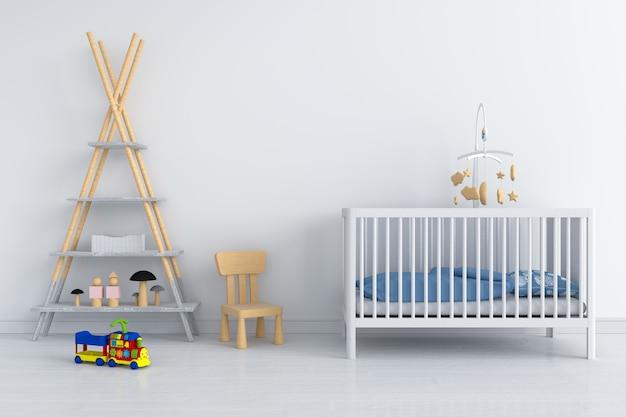 Interior de habitación de niño blanco para maqueta