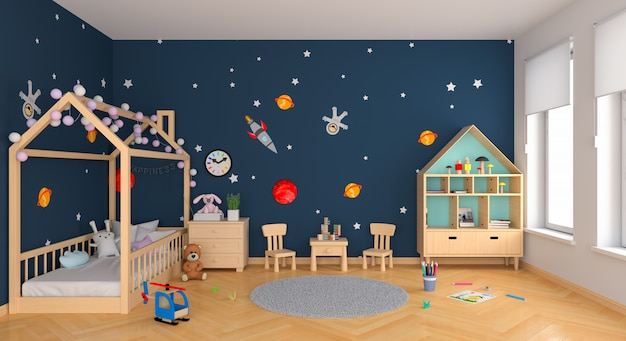 Interior de la habitación de los niños azul