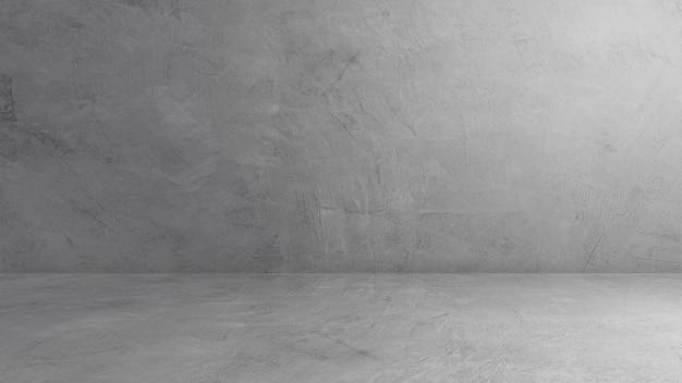 Interior de la habitación de la pared gris vacía estudio telón de fondo de hormigón y estante de cemento de escenario de piso