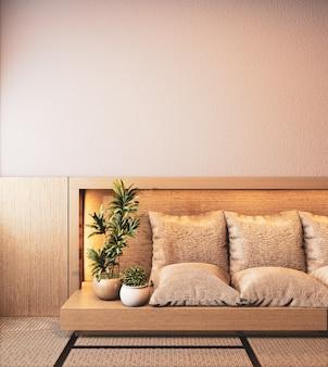 Interior de la habitación ryokan con sofá de madera en diseño de pared con luz oculta representación 3d