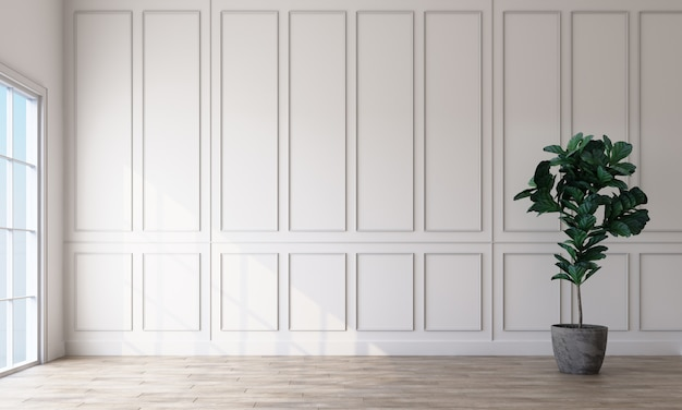 Interior de la habitación vacía con paredes de patrón rectangular blanco y un piso de madera clara representación 3d