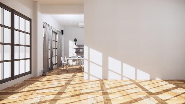 Interior de la habitación vacía con piso de madera en la pared blanca. renderizado 3d