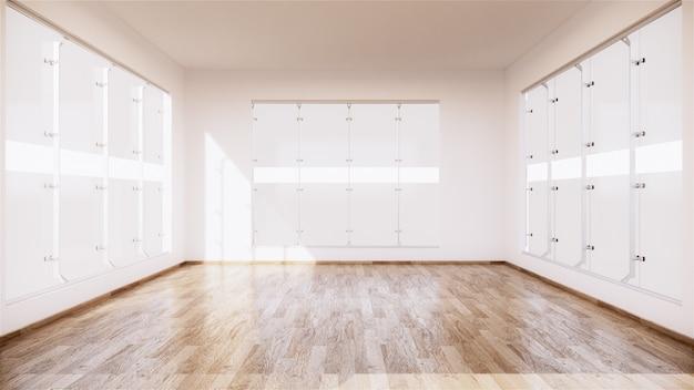 Interior de habitación vacía vintage con piso de madera sobre fondo de pared blanca. representación 3d