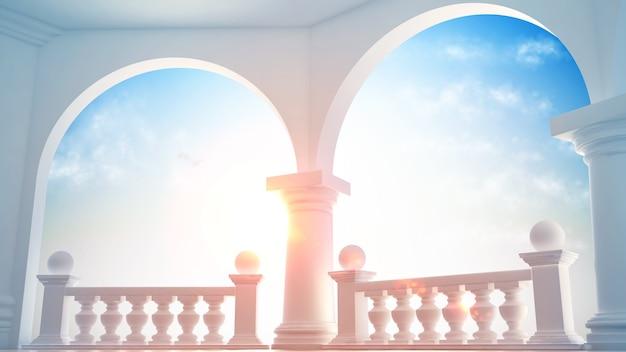 Interior hermoso y clásico con terraza