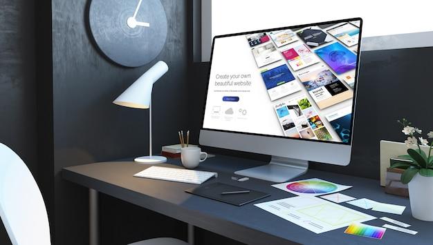 Interior del lugar de trabajo del constructor de sitios web. representación 3d