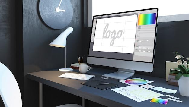 Interior del lugar de trabajo de diseño de logotipo. representación 3d