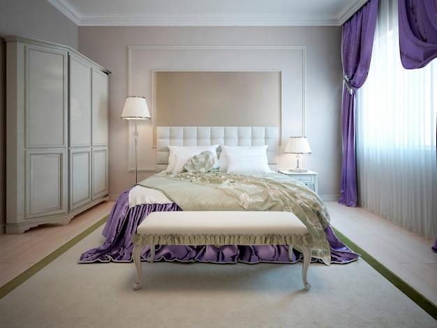 Interior de lujo de dormitorio art deco con paredes beige