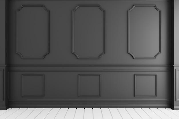 Interior de lujo vacío del sitio con la pared negra en el piso de madera blanco. representación 3d
