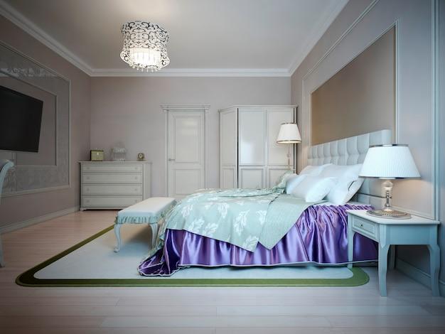 Interior luminoso de dormitorio caro