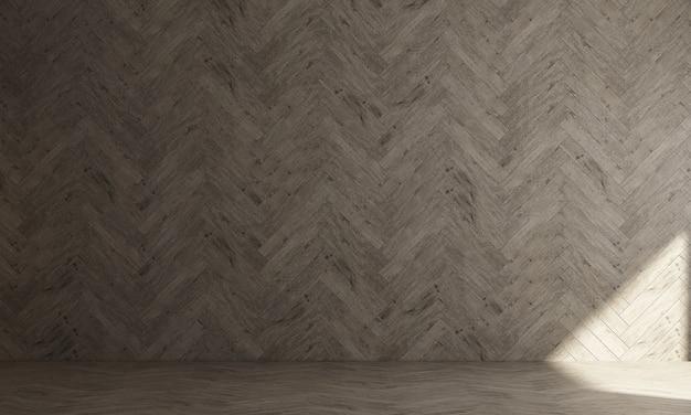 El interior de la maqueta de una habitación con una pared vacía y una pared de madera el fondo