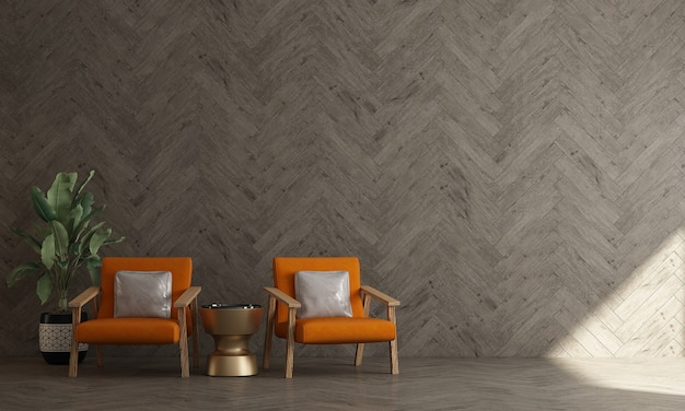 El interior de la maqueta de una habitación con una silla y una pared de madera el fondo