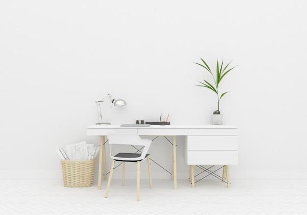 Interior maqueta sala de oficina en casa y pared en blanco