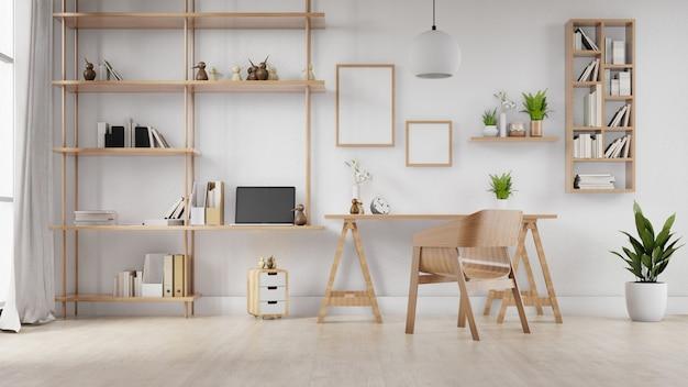 Interior marco de fotos en blanco sala de estar mesa y silla. representación 3d