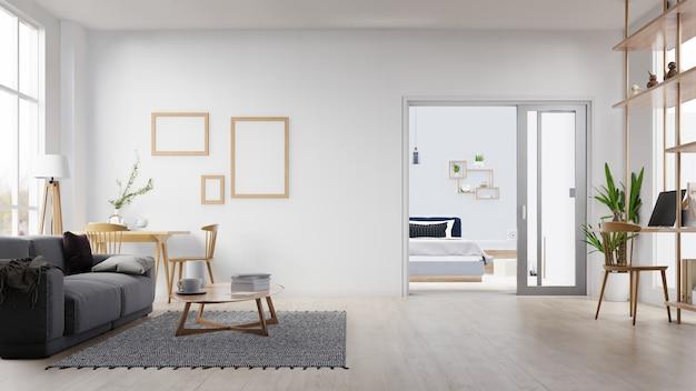 Interior marco de fotos en blanco sala de estar con sofá blanco. representación 3d