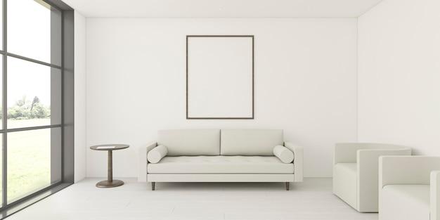 Interior minimalista con elegante marco y sofá.
