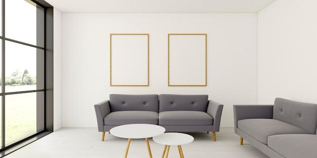 Interior minimalista con elegantes marcos y sofá.