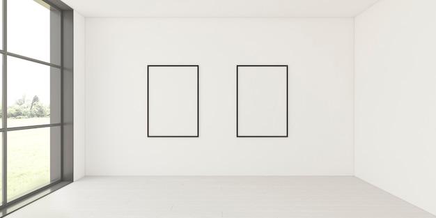 Interior minimalista con elegantes marcos.