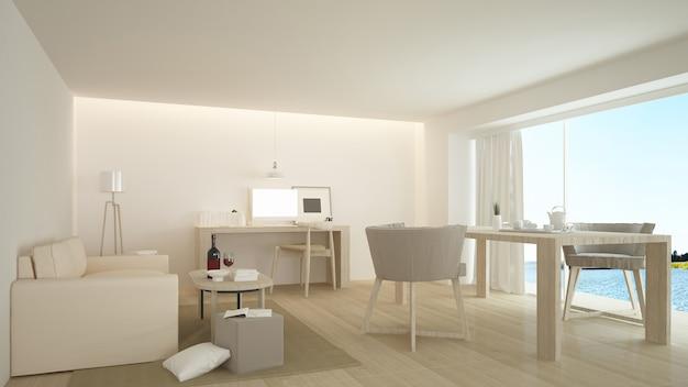 El interior minimalista del hotel relaja el espacio 3d y la vista de la naturaleza