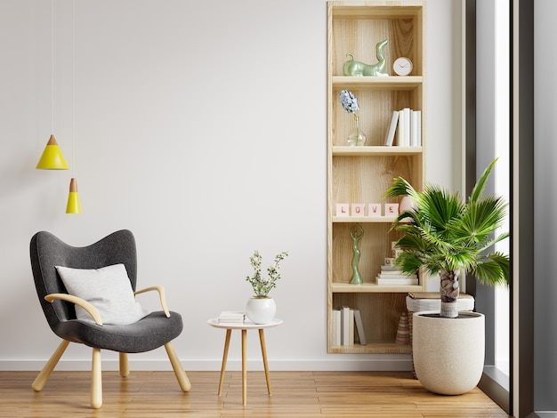 Interior minimalista de la sala de estar con sillón de diseño y mesa en la pared blanca. representación 3d