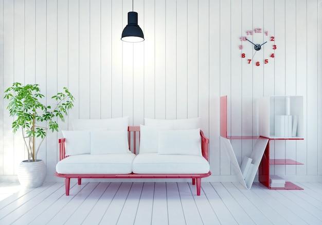 Interior moderno blanco de la habitación con el estante de libro de la palabra amor para el día de tarjeta del día de san valentín, representación 3d