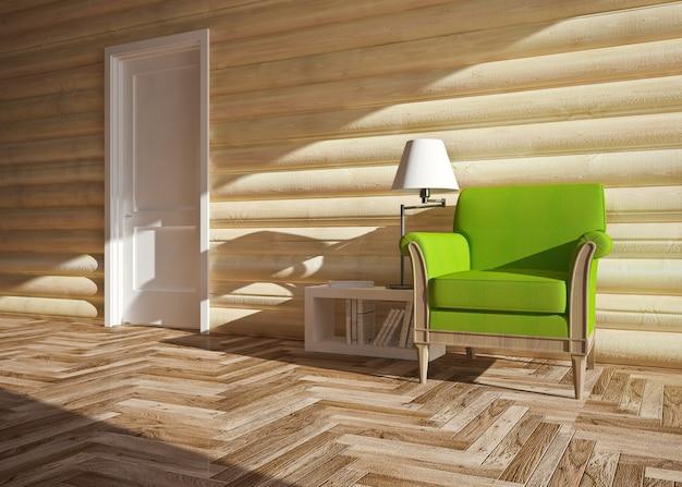 Interior moderno de casa de madera