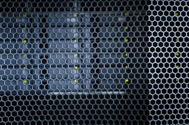 Interior moderno. gabinetes de servidor importantes modernos y elegantes de metal negro en un centro de datos