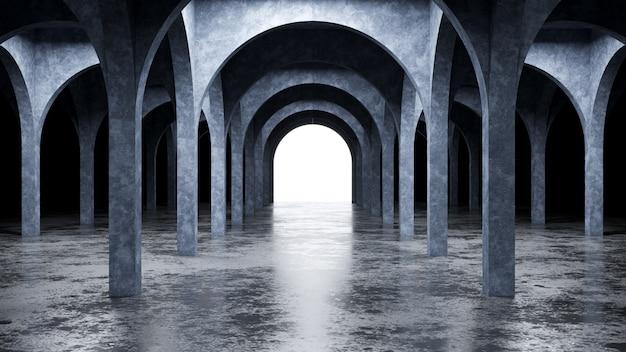 Interior moderno de hormigón, render 3d