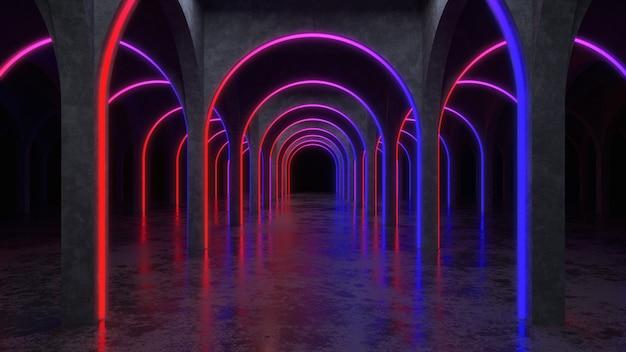 Interior moderno de hormigón, con ultravioleta, render 3d