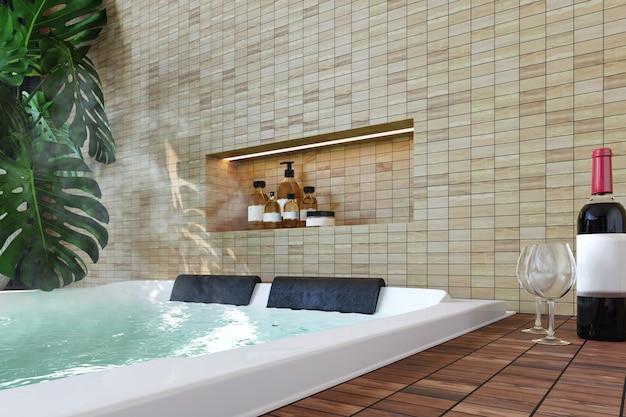 Interior moderno con jacuzzi, botella de vino, plantas, piso de madera y fondo de pared de ladrillos claros