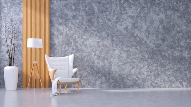 Interior moderno de loft de diseño de sala de estar y estilo de vida acogedora