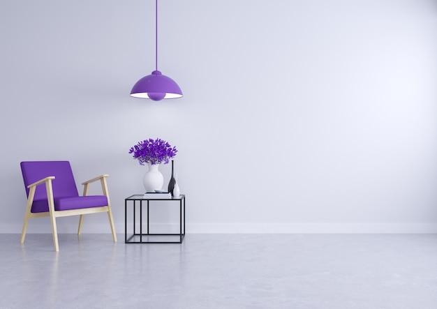 Interior moderno loft de la sala de estar con el sofá púrpura