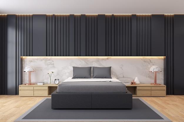 Interior moderno y lujoso dormitorio oscuro