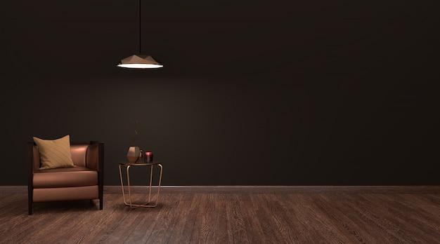 Interior moderno y lujoso salón oscuro, render 3d